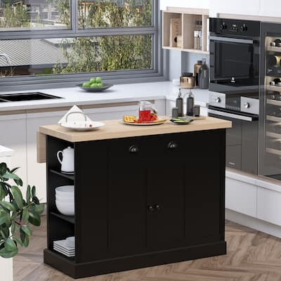 HOMCOM Fluted-Style Wooden Kitchen Island, Countertop with Drop Leaf, Drawer, Open Shelves, Storage