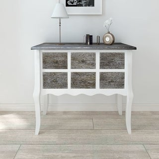 vidaXL Console Cabinet 6 Drawers White Wooden