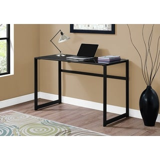 Monarch 7379 Black Metal 48nch Computer Desk With Black Tempered Glass