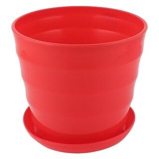 Unique Bargains 19cm Dia Plastic Round Plant Planter Holder Flower Pot Home Garden Decor Red