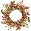 "22"" Autumn Harvest Decorative Artificial Orange and Green Berries with Leaves Wreath - Unlit - Thumbnail 0"