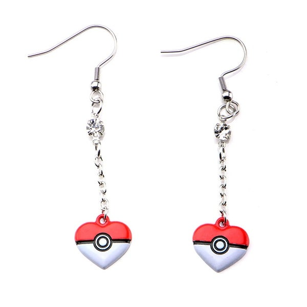 Pokemon Women's Pokemon Poke Ball Heart Shape Dangle Earrings Stainless Steel