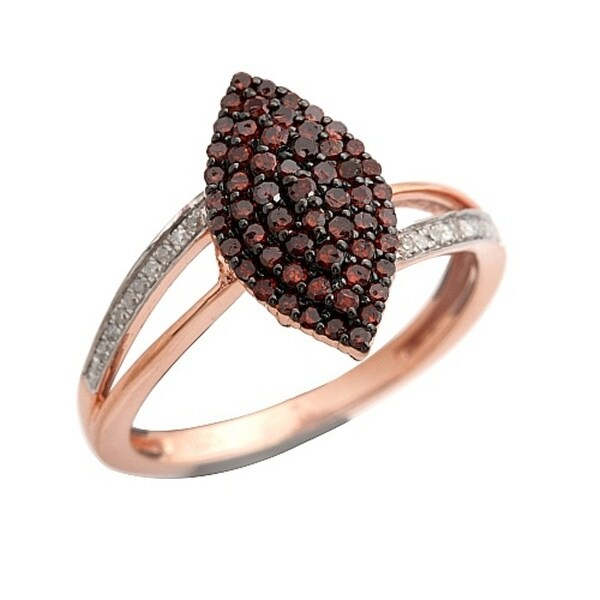 Beautiful 0.48 Carat Real Cognac Color Diamond With Diamond Cluster Ring