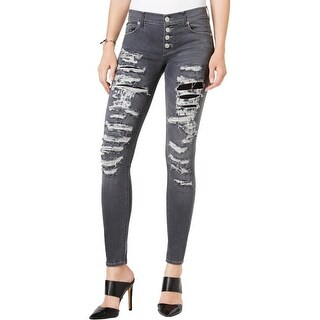 Hudson Womens Ciara Colored Skinny Jeans Gray Destroyed - 26