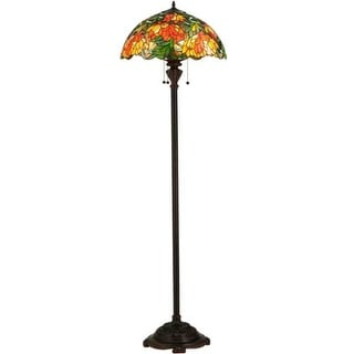"""Meyda Tiffany 134535 Lamella 3 Light 66"""" Tall Hand-Crafted Floor Lamp with Stained Glass - mahogany bronze"""