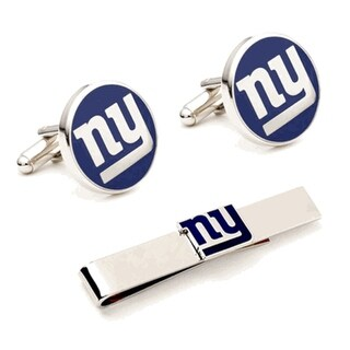 New York Giants Cufflinks and Tie Bar Gift Set NFL - navy