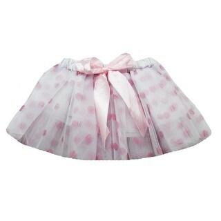 Baby Girls White Pink Polka Dots Satin Elastic Waist Ballet Tutu Skirt 0-12M