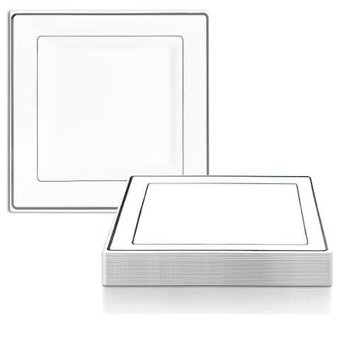 Square Shiny Edge Rim Disposable Plastic Plate Packs - Party Supplies