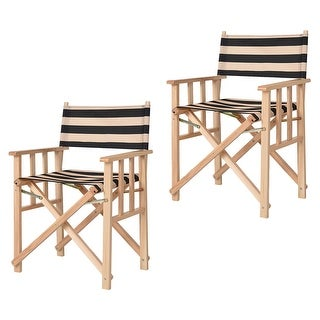 costway set of 2 folding makeup director chairs wood camping fishing stripe