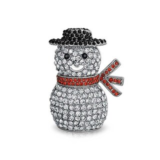 Bling Jewelry Crystal Christmas Snowman Holiday Brooch Pin Rhodium Plated