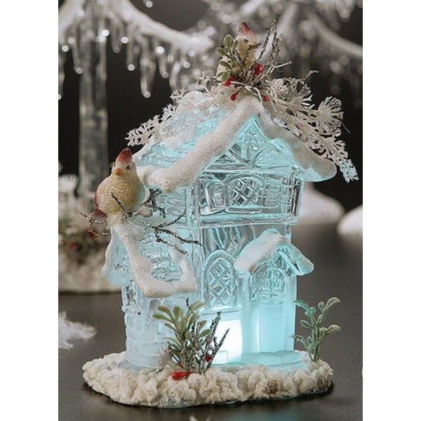 """Pack of 4 Icy Crystal Illuminated Christmas Forest House Figurines 6.8"""" - CLEAR"""