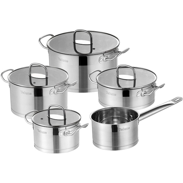 Velaze Mayne 9-Piece Cookware Set, Stainless Steel Pots and Pans. Opens flyout.