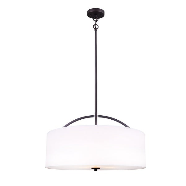 Canarm Drum Chandelier White Shade with Glass Diffuser - Oil Rubbed ...