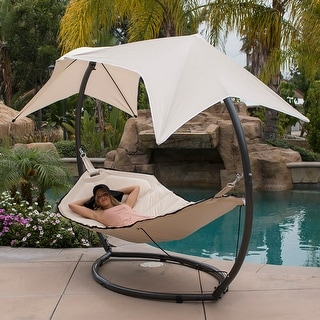 belleze hammock swing with sunroof dual canopy sunshade patio sun lounge bed lounger hammocks  u0026 porch swings for less   overstock    rh   overstock