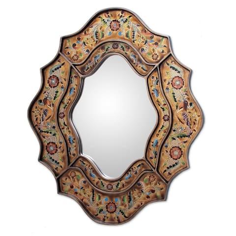 "Handmade Song of Spring Wooden Frame Mirror (Peru) - 9.75"" W x 13.0"" H"