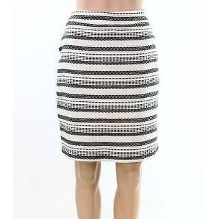 Halogen Ivory Women's Size 4P Petite Striped Straight Pencil Skirt