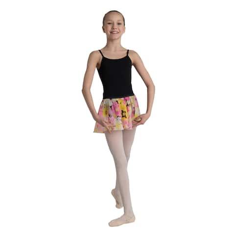 Danshuz Girls Yellow Pink Floral Print Elastic Waist Circle Dance Skirt