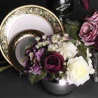 G Home Collection Luxury Rose White Rose and Purple Hydrangea Flower Arrangement - Pink