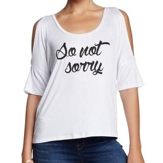 Project Social T NEW White Womens Size XS Cold-Shoulder Graphic Knit Top