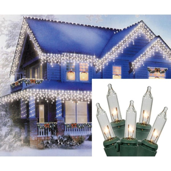 Set of 100 Clear Mini Icicle Christmas Lights - Green Wire