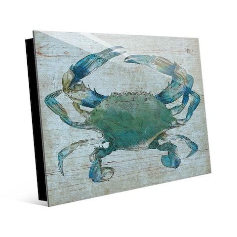 Kathy Ireland Turquoise Blue Crab Nautical on Acrylic Wall Art Print