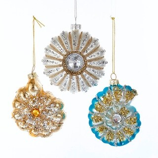 Jeweled Seashells and Urchin Christmas Holiday Ornaments Set of 3