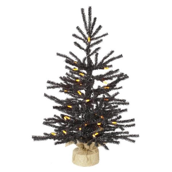 "2' x 15"" Pre-Lit Black Pistol Pine Artificial Christmas Tree in Burlap Base - Orange LED Lights"
