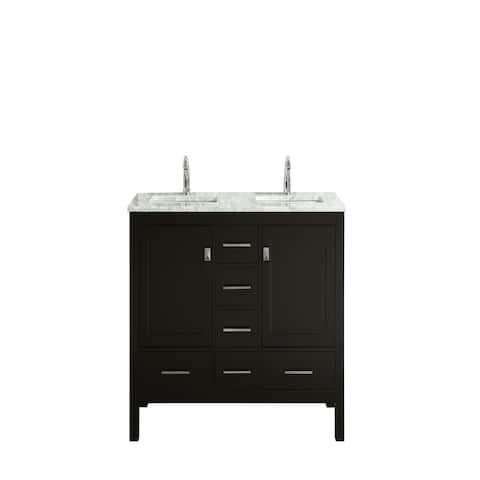 "Eviva London 60"" x 18"" Espresso Transitional Double Sink Bathroom Vanity w/ White Carrara Top"
