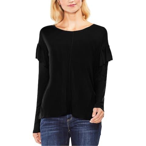Vince Camuto Womens Ruffled Basic T-Shirt, Black, XX-Small