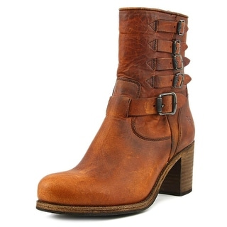 Frye Kelly Belted Short Women Round Toe Leather Ankle Boot