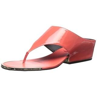 Calvin Klein Womens Ciara Thong Sandals Patent Metallic Trim