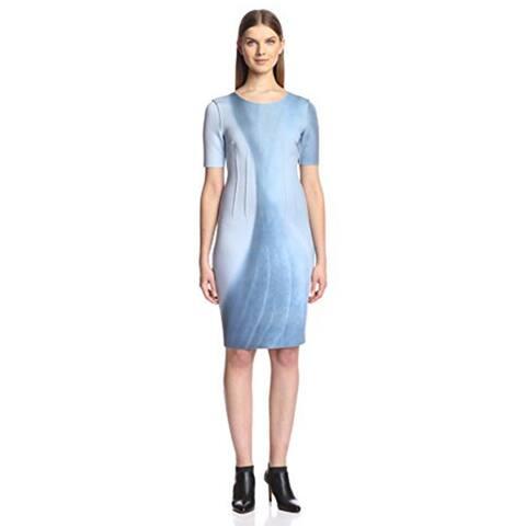 ELEI TAHARI Gwenyth Blue Gray Scuba Short Sleeve Reversible Sheath Size 6