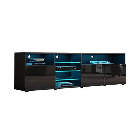 Roma 79-inch Wide Glossy TV Stand with 16-color LEDs