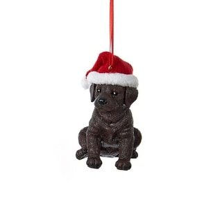 """3"""" Brown Labrador Retriever Puppy in Red Santa Hat Hanging Christmas Ornament"""
