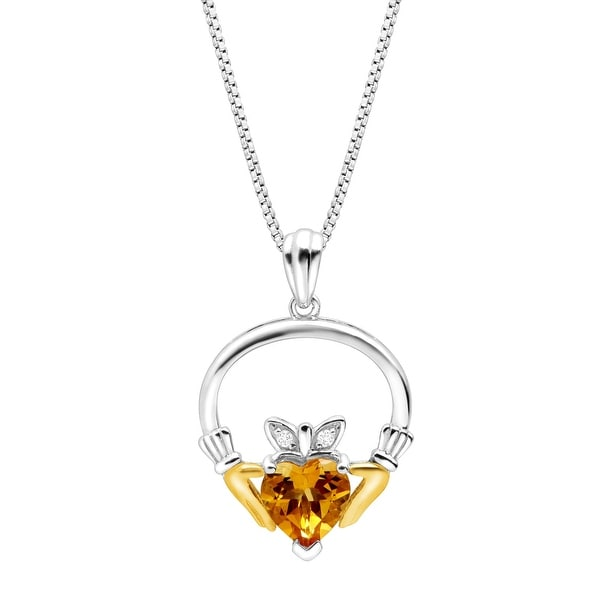 1 1/10 Natural Citrine Heart Claddagh Pendant with Diamonds in Sterling Silver & 14K Gold