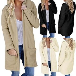 Women Hooded Long Coat Jacket Hoodies Parka Outwear Cardigan Coat