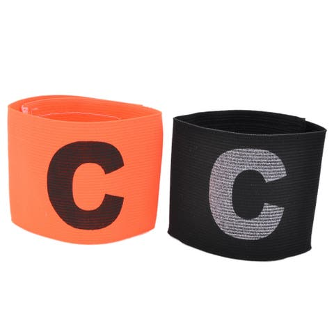 Hook Loop Closure Stretchy Football Captain Armband Badge Orange Black 2pcs