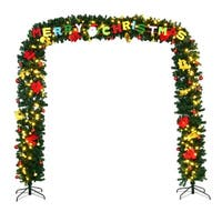 Costway 9' x 8' Pre-Lit Artificial Arched Christmas Tree Archway Decoration w/LED Lights - Green