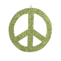 "5"" Flower Power Green Glittered Peace Sign Christmas Ornament"