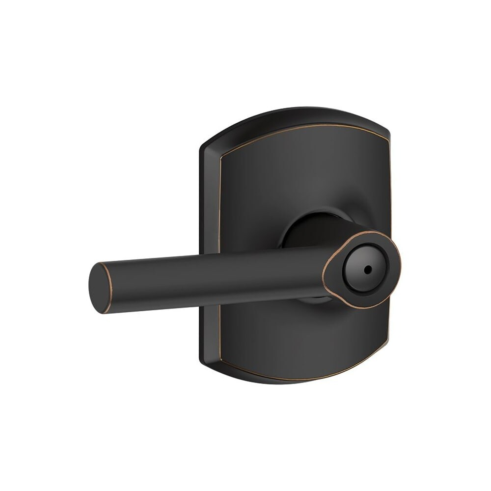 Schlage F40-BRW-GRW  Broadway Privacy Door Lever Set with Decorative Greenwich Trim (Matte Black)