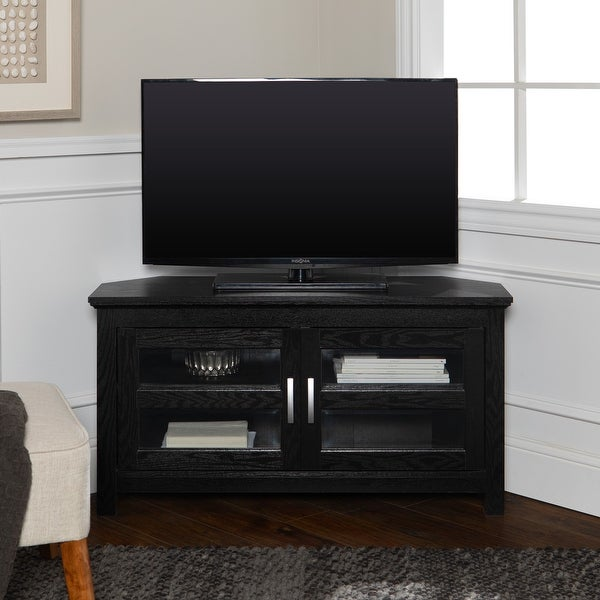 Copper Grove Bow Valley 44-inch Black Corner TV Stand. Opens flyout.