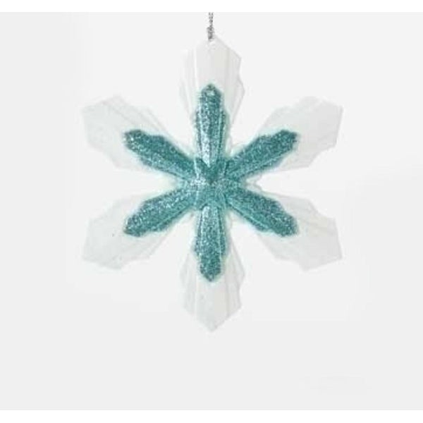 "5.25"" Snowy Winter Glittered White and Minty Blue Snowflake Christmas Ornament"