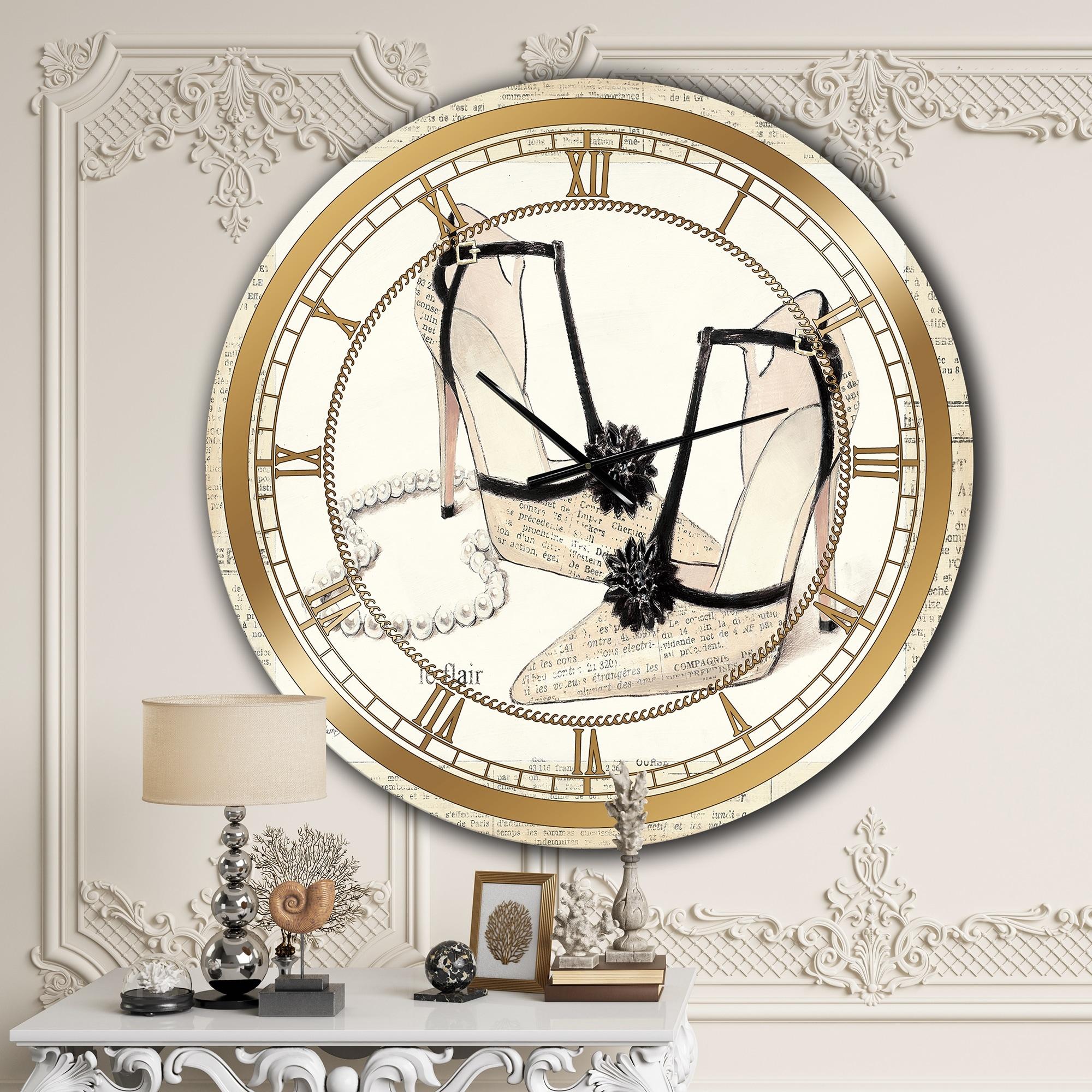 Designart Chic Galm Closet Iii Glam Large Wall Clock On Sale Overstock 27809262