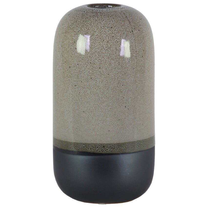 Cylindrical Stoneware Vase With Black Banded Rim Bottom, Large, Glossy Gray