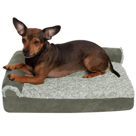FurHaven Pet Bed Two-Tone Faux Fur & Suede Deluxe Chaise Lounge Orthopedic Sofa Dog Bed