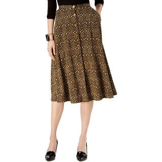 NY Collection Womens A-Line Skirt Printed Midi