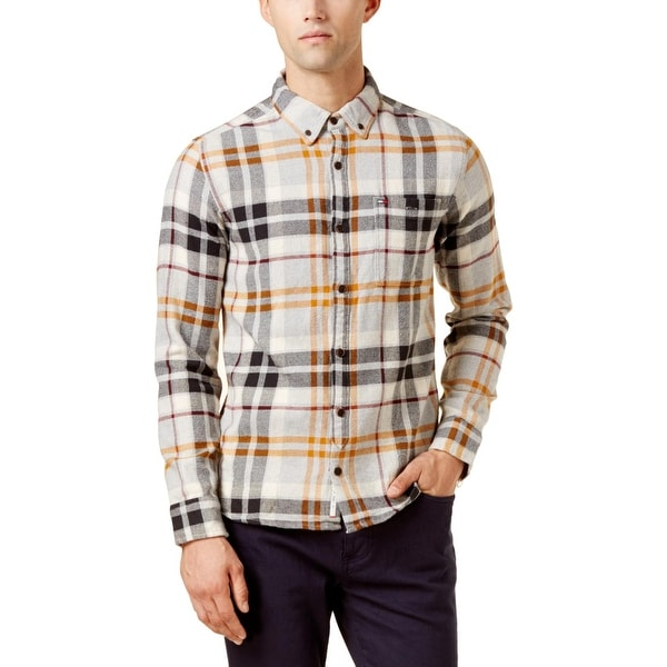 1a2986dc Shop Tommy Hilfiger Mens Bruno Button-Down Shirt Plaid Denim - Free  Shipping On Orders Over $45 - Overstock.com - 25994824