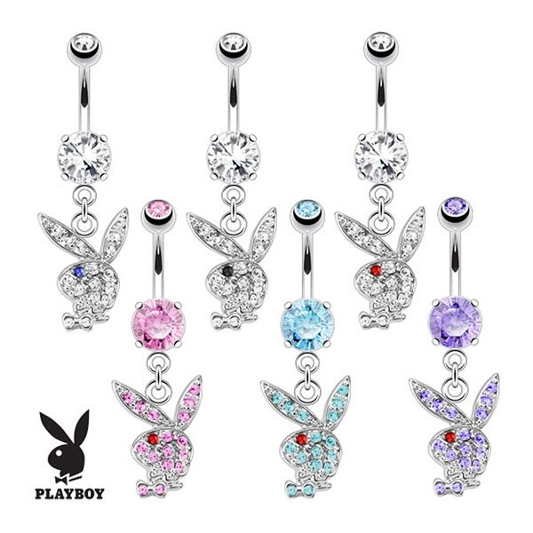 Multi Paved Gems on Playboy Bunny Dangle 316L Surgical Steel Navel Belly Button Ring (Sold Ind.)