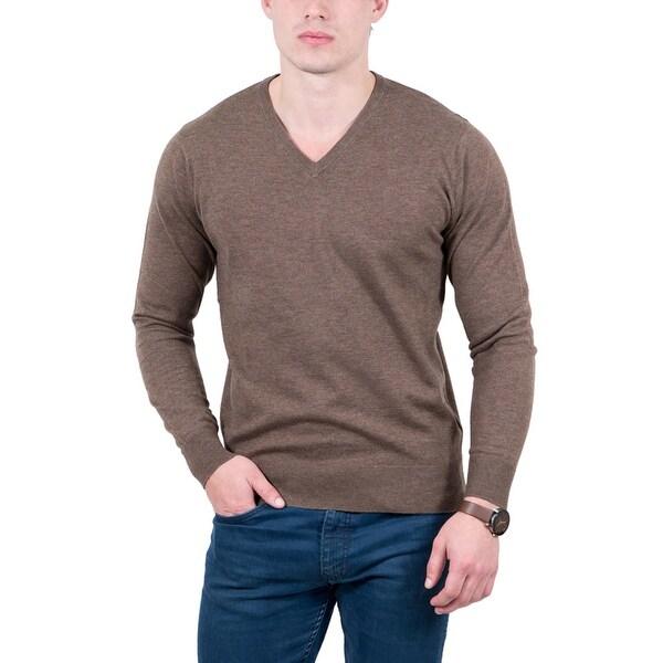 Real Cashmere Brown V-Neck Cashmere Blend Mens Sweater