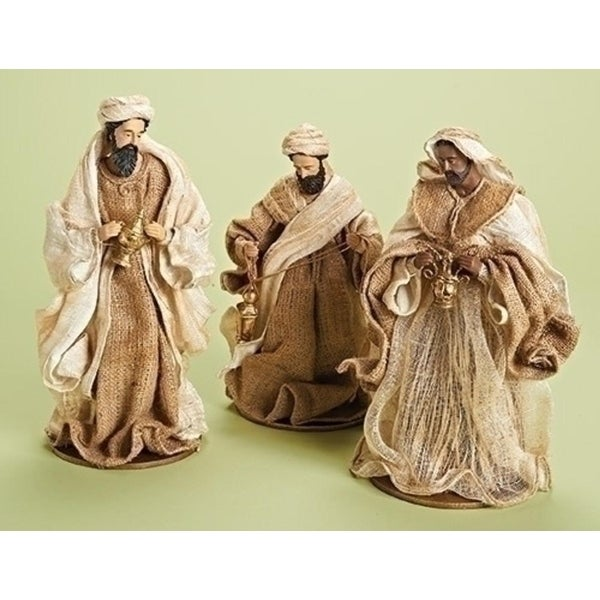 "14"" 3 Piece Burlap 3 Kings Nativity Decorative Set"
